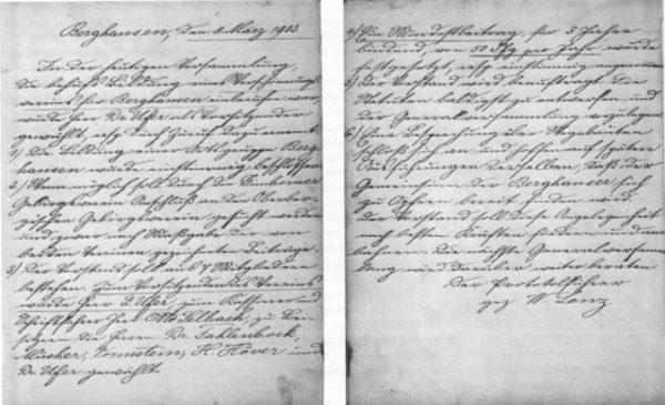 Die Mitschrift der Gründerversammlung aus dem Jahr 1903.